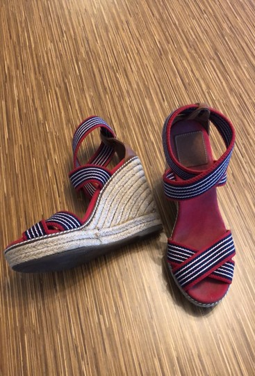 Tory Burch red blue and white Wedges Image 1