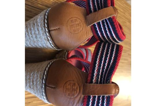 Tory Burch red blue and white Wedges Image 8