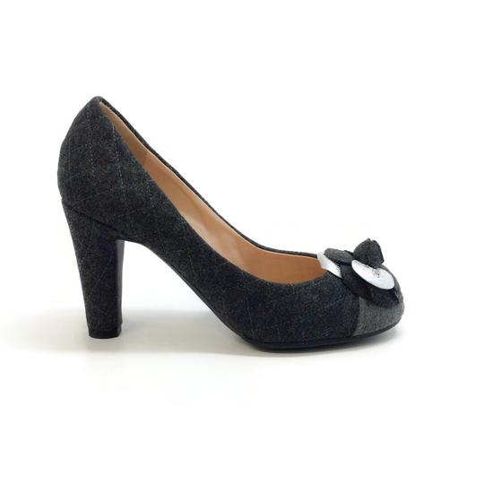 Chanel Charcoal Grey Quilted Flannel Pumps Image 1