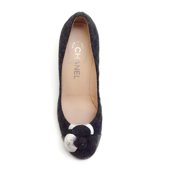 Chanel Charcoal Grey Quilted Flannel Pumps Image 3