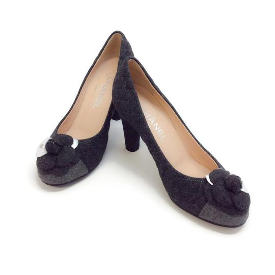 Chanel Charcoal Grey Quilted Flannel Pumps Image 5