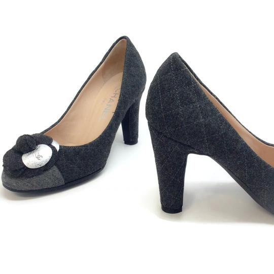 Chanel Charcoal Grey Quilted Flannel Pumps Image 6