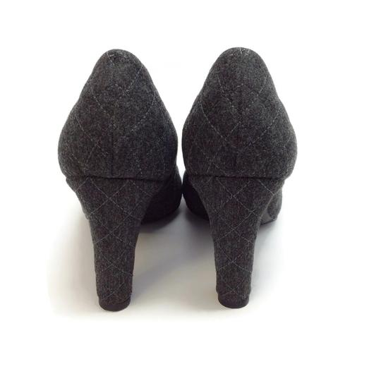Chanel Charcoal Grey Quilted Flannel Pumps Image 7