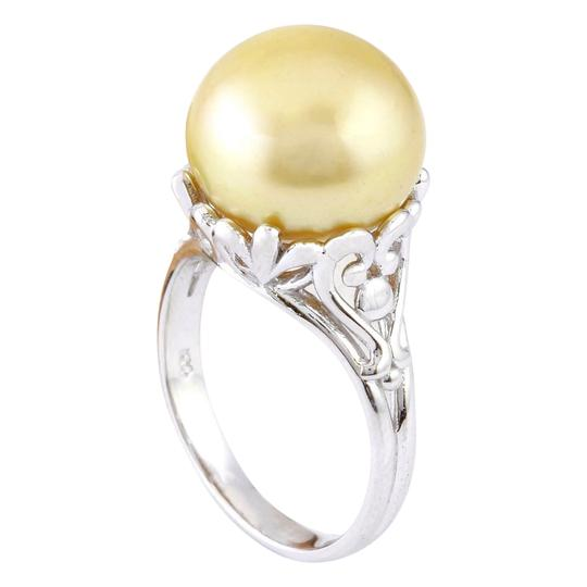 Fashion Strada 12.90 mm Gold South Sea Pearl 14K Solid White Gold Ring Image 1