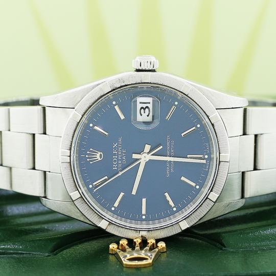 Rolex Date 34mm Blue Index Dial Automatic Stainless Steel Oyster Watch 15210 Image 1