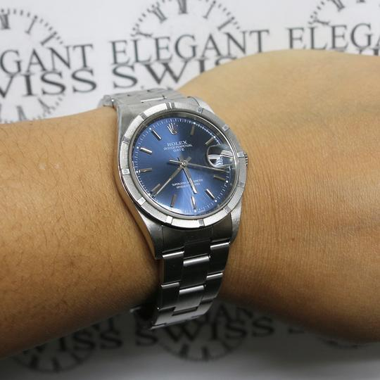 Rolex Date 34mm Blue Index Dial Automatic Stainless Steel Oyster Watch 15210 Image 2