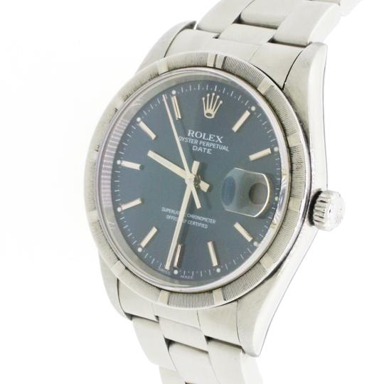 Rolex Date 34mm Blue Index Dial Automatic Stainless Steel Oyster Watch 15210 Image 6
