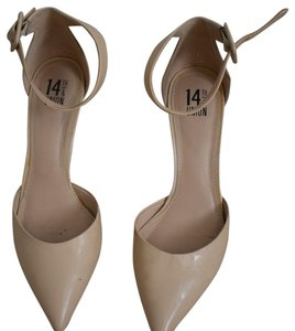 14th & Union Patent Low Heel Professional Ankle Strap Pointed Toe Nude Pumps