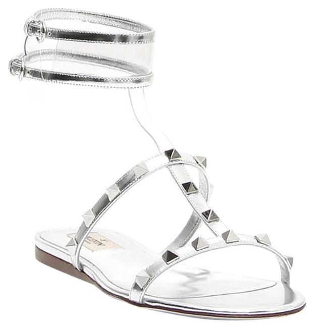 Valentino Silver Moonwalk Rockstuds Metallic Sandals Flats Size EU 37 (Approx. US 7) Regular (M, B) Valentino Silver Moonwalk Rockstuds Metallic Sandals Flats Size EU 37 (Approx. US 7) Regular (M, B) Image 1