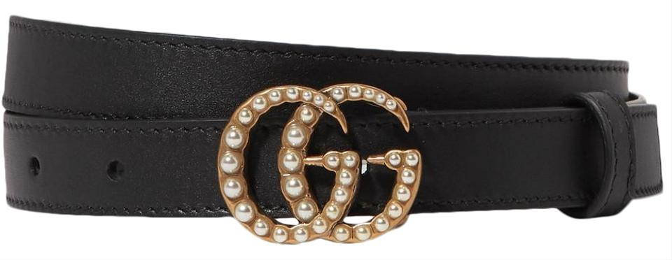 05800a866e2 Gucci Brand New - Gucci Leather Belt with Pearl Double GG Buckle - Size 75  Image ...