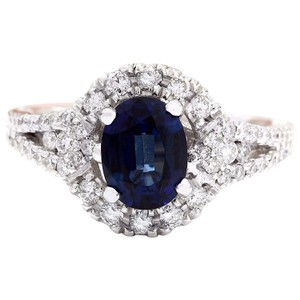 Fashion Strada 2.59 Carat Natural Sapphire 14K Solid White Gold Diamond Ring
