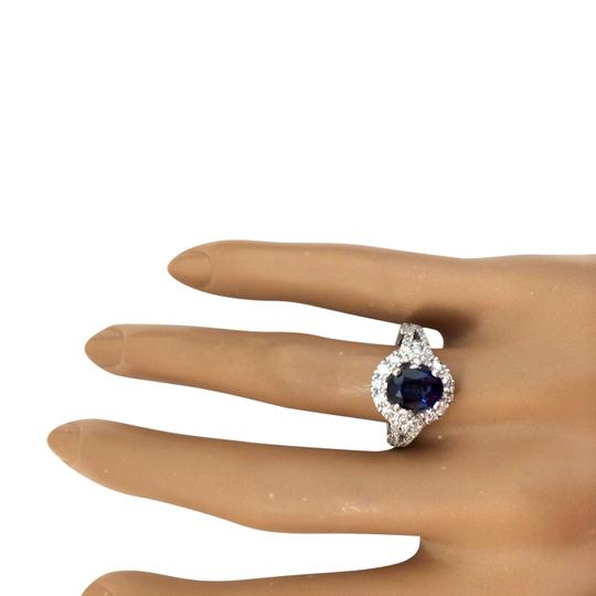 Fashion Strada 2.59 Carat Natural Sapphire 14K Solid White Gold Diamond Ring Image 1