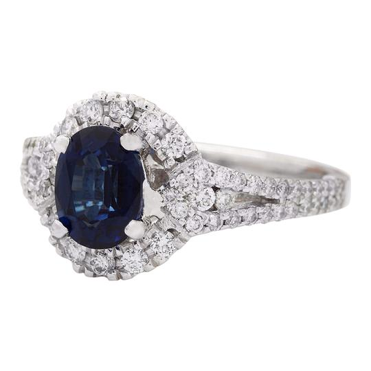 Fashion Strada 2.59 Carat Natural Sapphire 14K Solid White Gold Diamond Ring Image 3
