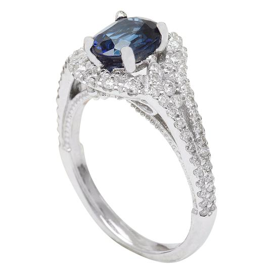 Fashion Strada 2.59 Carat Natural Sapphire 14K Solid White Gold Diamond Ring Image 4