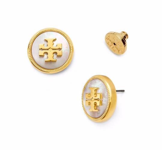 Tory Burch Ivory T Stud New Semi-precious Mother Of Pearl T-logo Earrings Image 1