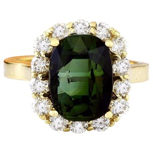 Fashion Strada 9.00 Carat Natural Tourmaline 14K Solid Yellow Gold Diamond Ring