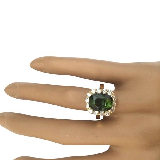 Fashion Strada 9.00 Carat Natural Tourmaline 14K Solid Yellow Gold Diamond Ring Image 1