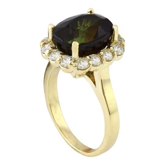 Fashion Strada 9.00 Carat Natural Tourmaline 14K Solid Yellow Gold Diamond Ring Image 2
