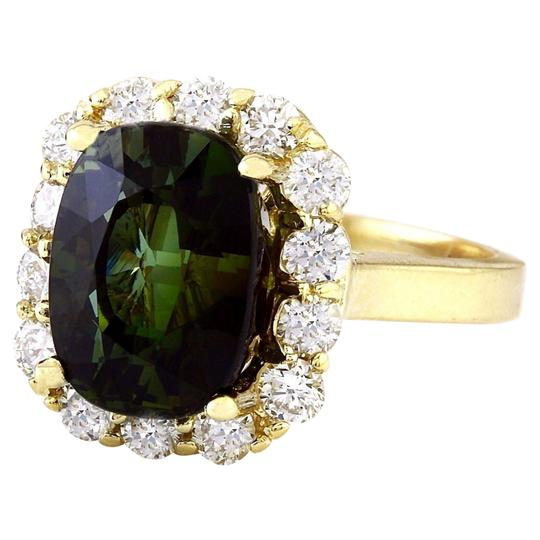 Fashion Strada 9.00 Carat Natural Tourmaline 14K Solid Yellow Gold Diamond Ring Image 3
