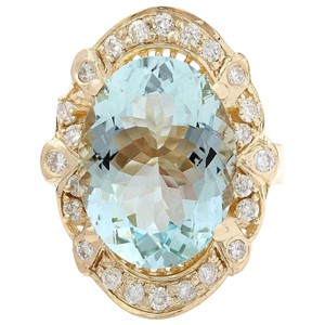 Fashion Strada 5.8 Carat Natural Aquamarine 14K Solid Yellow Gold Diamond Ring