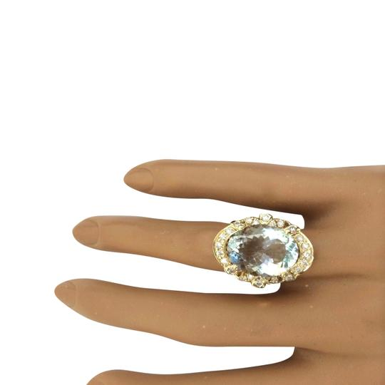 Fashion Strada 5.8 Carat Natural Aquamarine 14K Solid Yellow Gold Diamond Ring Image 1