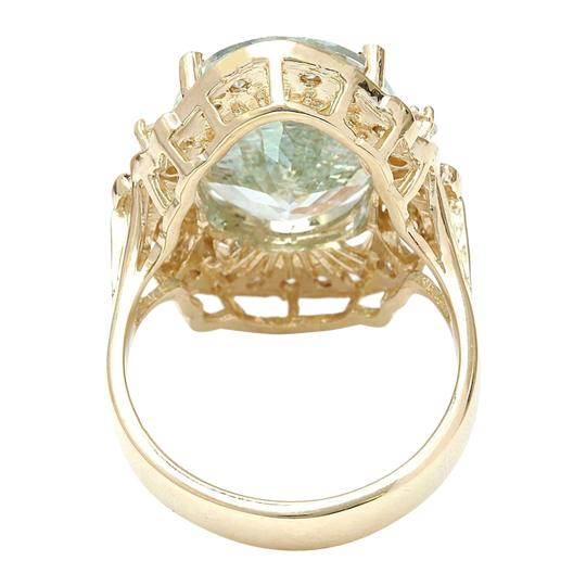 Fashion Strada 5.8 Carat Natural Aquamarine 14K Solid Yellow Gold Diamond Ring Image 2