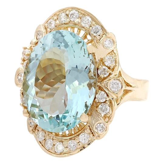 Fashion Strada 5.8 Carat Natural Aquamarine 14K Solid Yellow Gold Diamond Ring Image 3