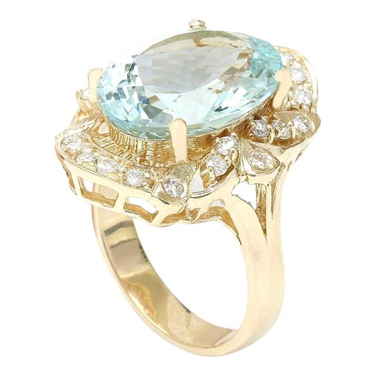 Fashion Strada 5.8 Carat Natural Aquamarine 14K Solid Yellow Gold Diamond Ring Image 4