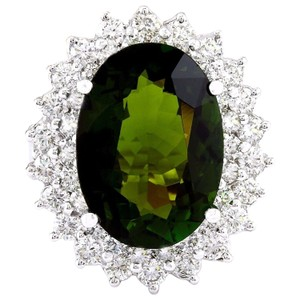 Fashion Strada 10.29 Carat Natural Tourmaline 14K Solid White Gold Diamond Ring