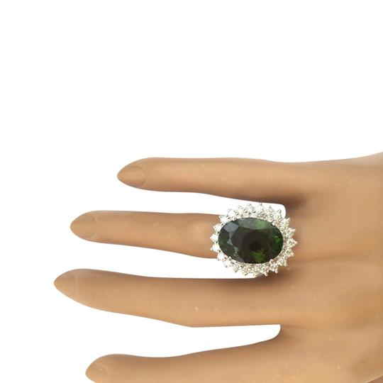 Fashion Strada 10.29 Carat Natural Tourmaline 14K Solid White Gold Diamond Ring Image 1