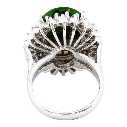 Fashion Strada 10.29 Carat Natural Tourmaline 14K Solid White Gold Diamond Ring Image 2
