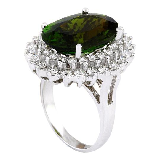 Fashion Strada 10.29 Carat Natural Tourmaline 14K Solid White Gold Diamond Ring Image 3