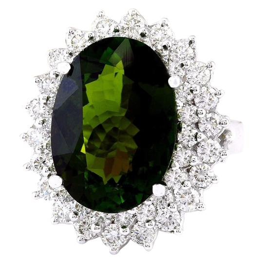 Fashion Strada 10.29 Carat Natural Tourmaline 14K Solid White Gold Diamond Ring Image 4