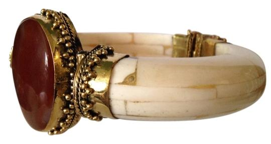 Other Red Carnelian, Bone & Gold Statement Bracelet Only! Additional Matching Pieces Sold Seperately Image 1