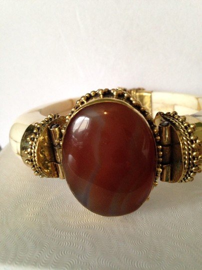 Other Red Carnelian, Bone & Gold Statement Bracelet Only! Additional Matching Pieces Sold Seperately Image 2