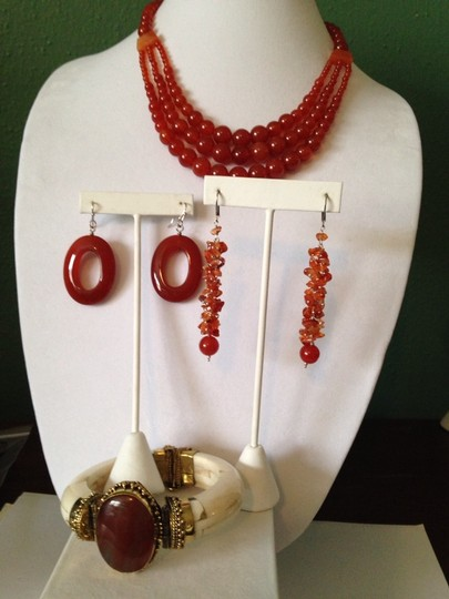 Other Red Carnelian, Bone & Gold Statement Bracelet Only! Additional Matching Pieces Sold Seperately Image 7