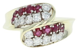 Other Ruby & Diamond Bypass Ring - 14k Yellow Gold Round Brilliant U4264