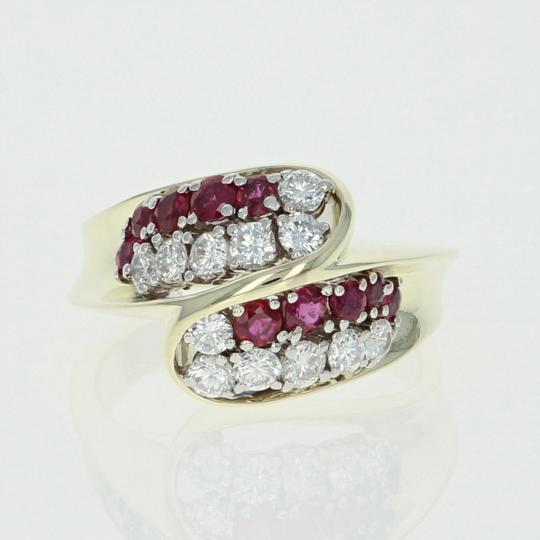 Other Ruby & Diamond Bypass Ring - 14k Yellow Gold Round Brilliant U4264 Image 1