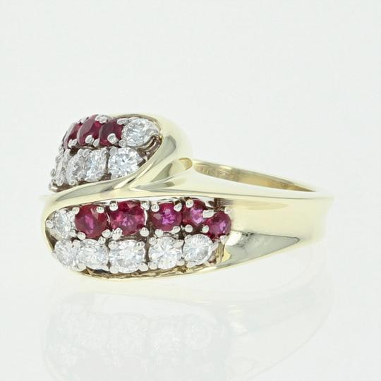 Other Ruby & Diamond Bypass Ring - 14k Yellow Gold Round Brilliant U4264 Image 2