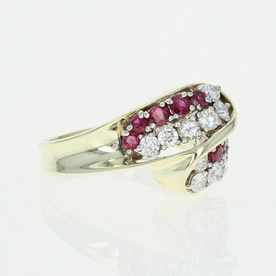 Other Ruby & Diamond Bypass Ring - 14k Yellow Gold Round Brilliant U4264 Image 3