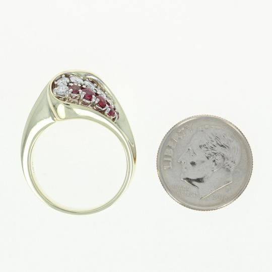 Other Ruby & Diamond Bypass Ring - 14k Yellow Gold Round Brilliant U4264 Image 4