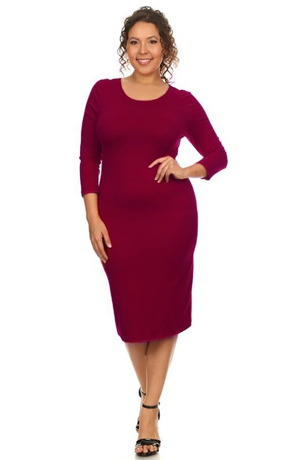 Burgundy Maxi Dress by Yelete Midi Bandage Bodycon Wine Image 1