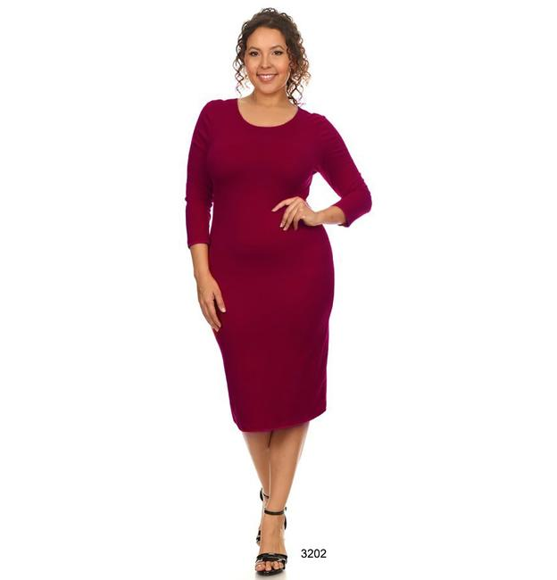 Burgundy Maxi Dress by Yelete Midi Bandage Bodycon Wine Image 2