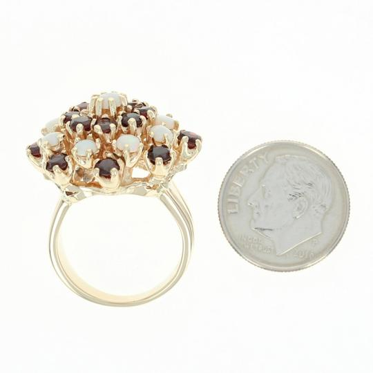 Other Ruby & Opal Cluster Cocktail Ring - 14k Yellow Gold Round U4619 Image 3