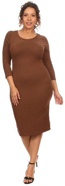 Item - Brown Bandage Bodycon Midi Fitted 1xl Mid-length Casual Maxi Dress Size 16 (XL, Plus 0x)