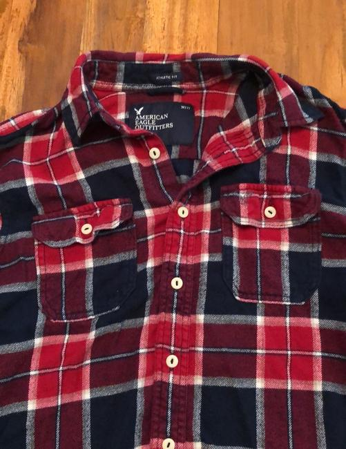 American Eagle Outfitters Button Down Shirt Red, White and Blue Image 2