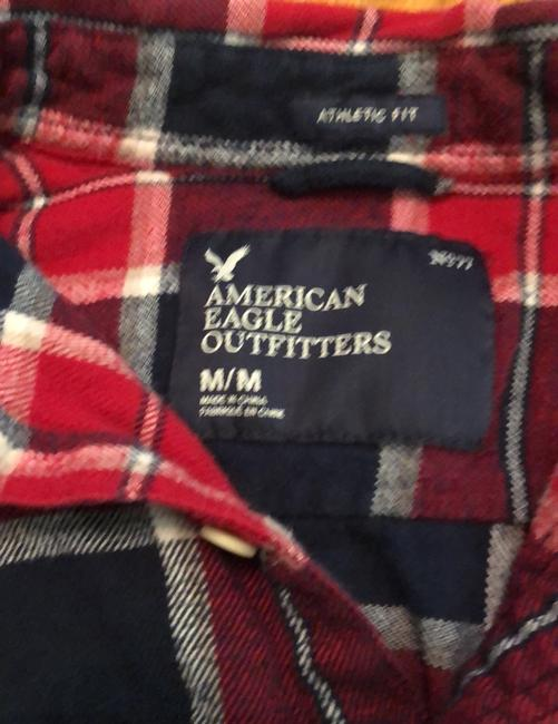 American Eagle Outfitters Button Down Shirt Red, White and Blue Image 3