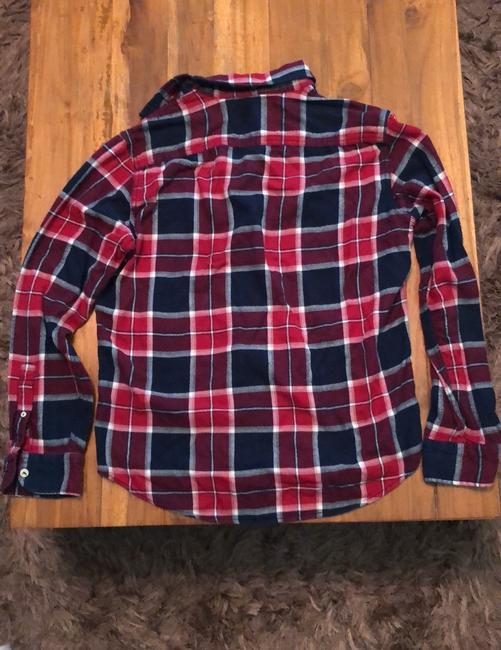 American Eagle Outfitters Button Down Shirt Red, White and Blue Image 4