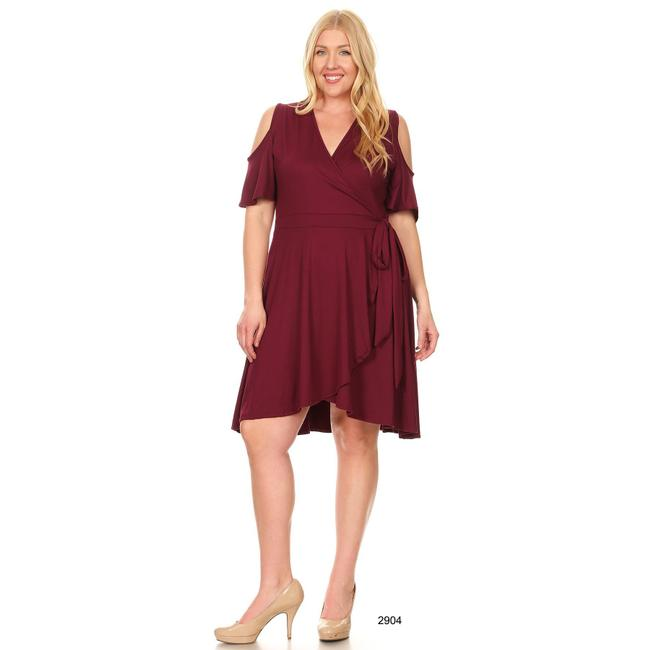 Maroon Maxi Dress by Bagel Midi Fitandflare Plussize Image 2