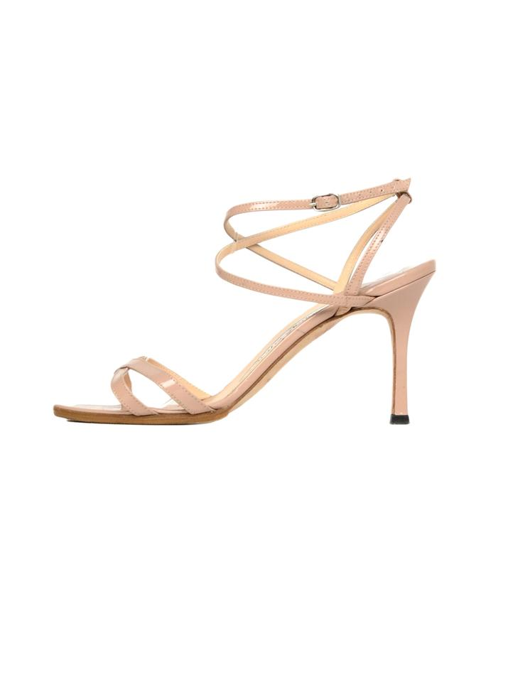 75dcd92fbb6 Manolo Blahnik Nude Patent Leather Strappy Sandals Size EU 35.5 (Approx. US  5.5) Regular (M, B)